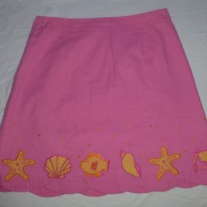 Lilly Pulitzer Pink Scallop Skirt Sea Life Size 4